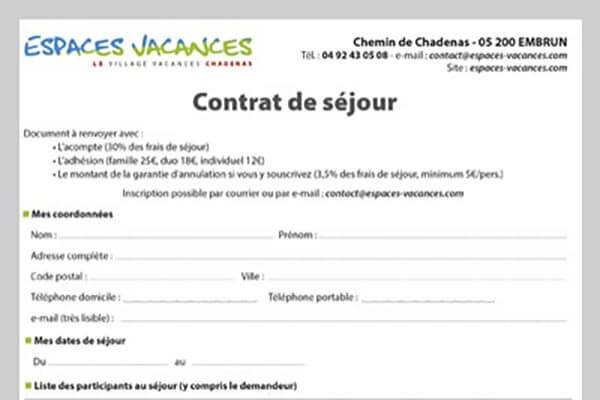 Fiche d'inscription du village le Chadenas