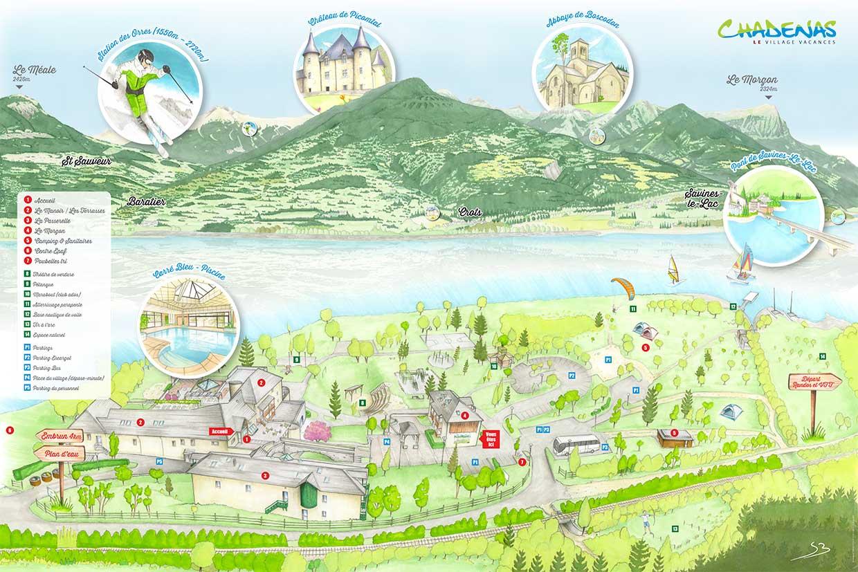 Plan du village Chadenas à Embrun au bord du lac de Serre-Ponçon